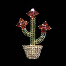 Load image into Gallery viewer, A PETITE POTTED CACTI BROOCH WITH PAVÉ DIAMANTÉ