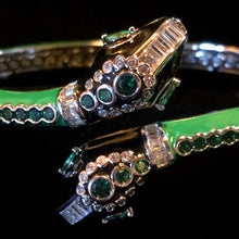 Load image into Gallery viewer, A GREEN ENAMELLED SNAKE BRACELET