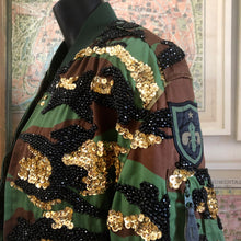 Load image into Gallery viewer, A TARMAFIA BEADED AND SEQUINNED CAMO JACKET