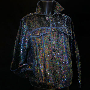 A DARK HELIOTROPE HAND SEQUINNED TARMAFIA JACKET