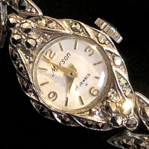 A 1950s DAINTY MARCASITE WATCH