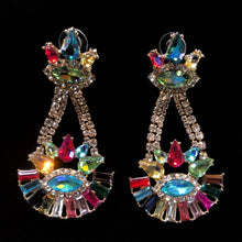Load image into Gallery viewer, MULTICOLOURED DIAMANTÉ TRAPEZE EARRINGS