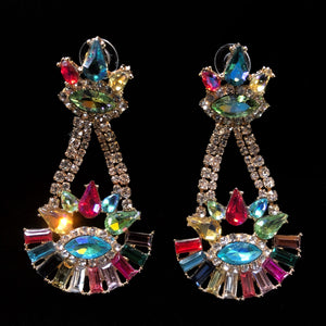 MULTICOLOURED DIAMANTÉ TRAPEZE EARRINGS