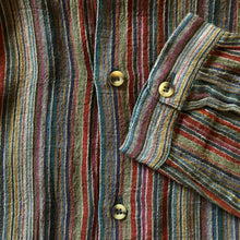 Load image into Gallery viewer, A GREEN STRIPE INDIAN COTTON 90s GRANDPA SHIRT