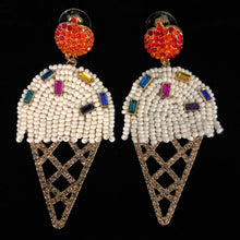 Load image into Gallery viewer, BEADED ICE CREAM CORNET EARRINGS
