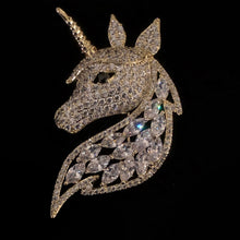 Load image into Gallery viewer, A MYSTICAL DIAMANTÉ UNICORN BROOCH