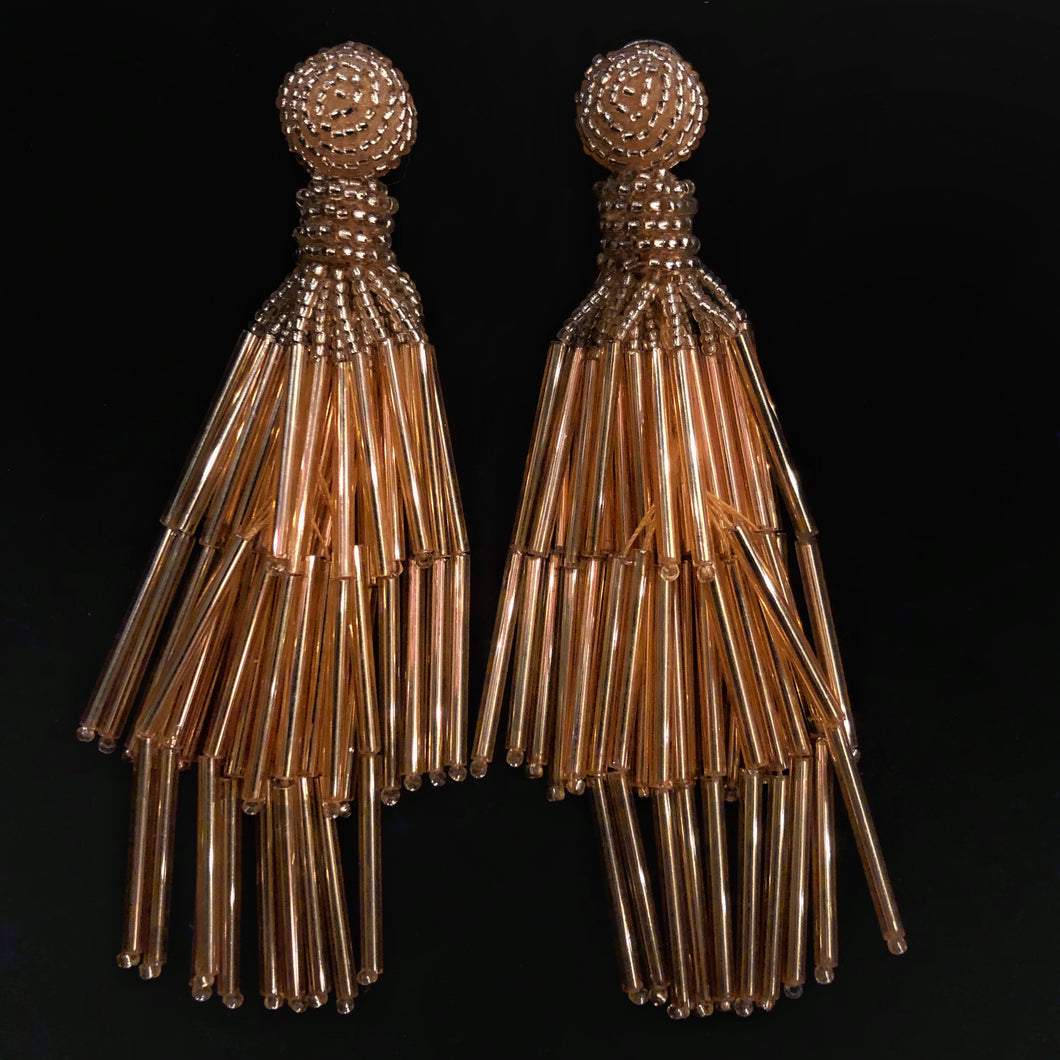 GOLD GLASS BEAD TASSEL EARRINGS