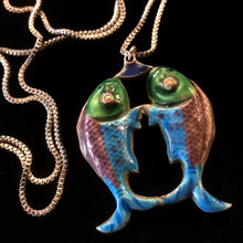 Load image into Gallery viewer, SILVER ENAMELLED VINTAGE TWIN FISH NECKLACE