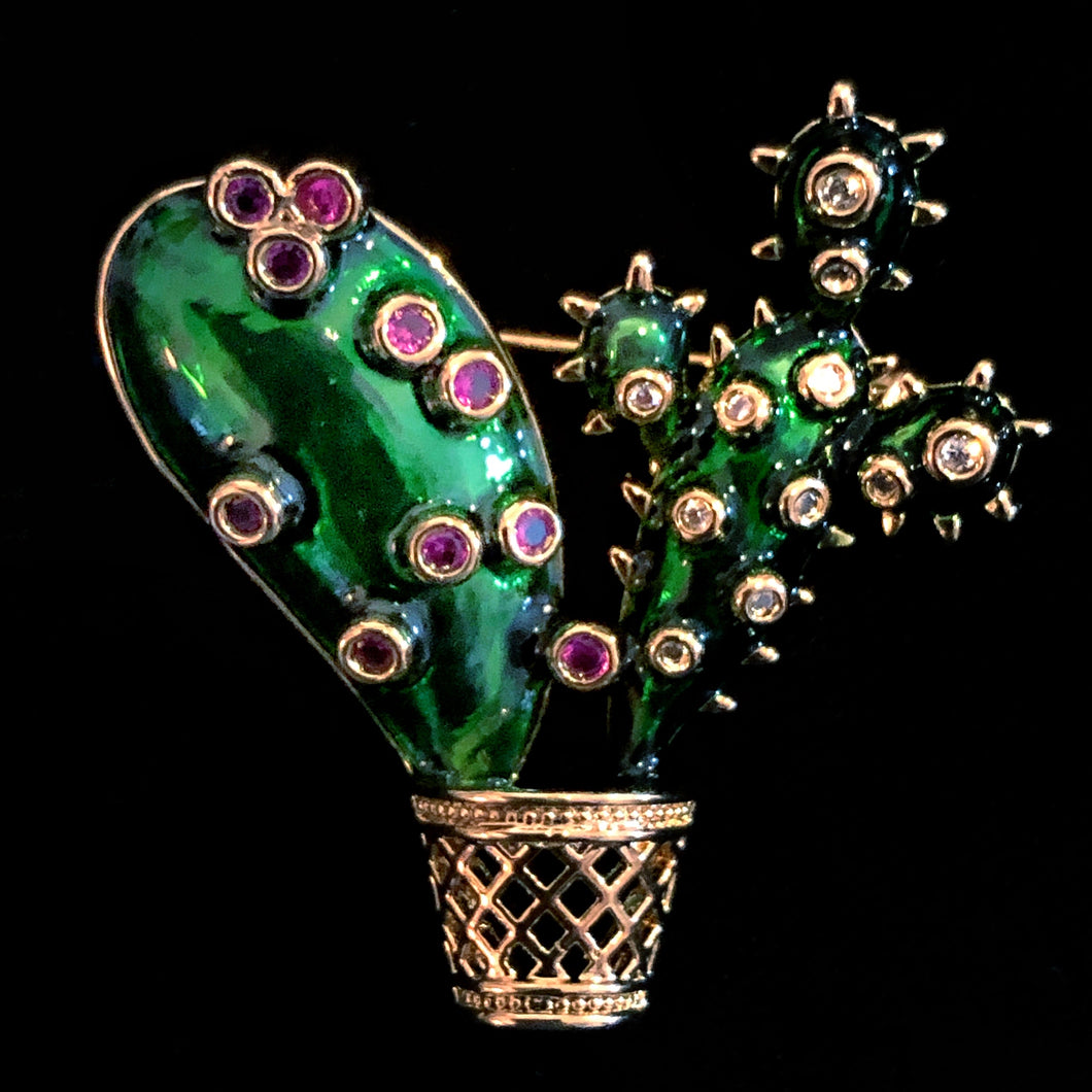 A PETITE ENAMELLED CACTUS IN POT BROOCH