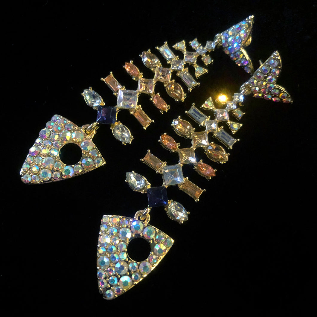 MODERNIST JEWELLED FISH EARRINGS