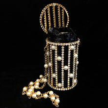 Load image into Gallery viewer, A RHINESTONE AND PEARL CAGE STYLE EVENING BAG