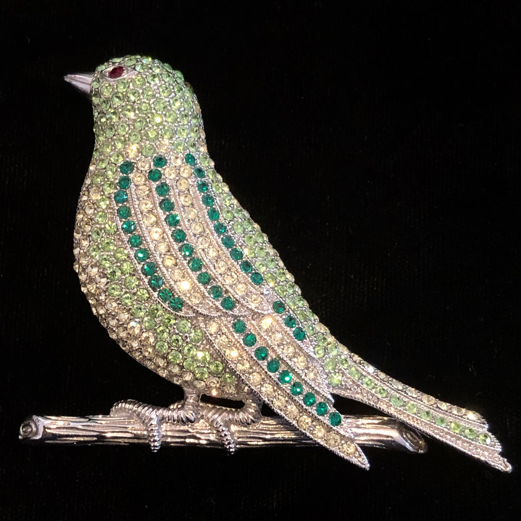 GREEN DIAMANTÉ THRUSH BROOCH