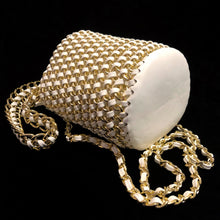 Load image into Gallery viewer, A WOVEN WHITE PVC AND GILT CHAIN BUCKET BAG