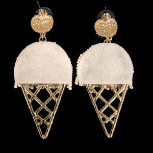 BEADED ICE CREAM CORNET EARRINGS