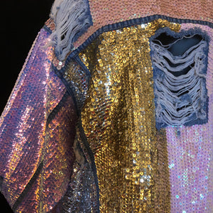 A LARGE SIZE TARMAFIA HAND SEQUINNED JACKET IN PALE COLOURS