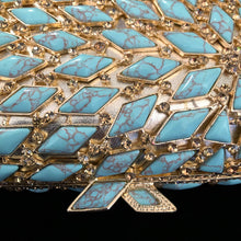 Load image into Gallery viewer, A LARGE DIAMANTÉ AND FAUX TURQUOISE FANTASY PURSE