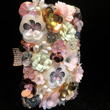 Load image into Gallery viewer, A PINK FLOWER ENCRUSTED EVENING PURSE