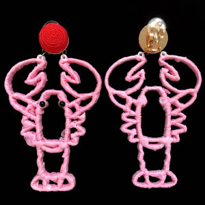 RAFFIA LOBSTER CLIP ON EARRINGS