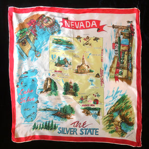 A COLLECTION OF SIX VINTAGE TOURIST SCARVES