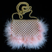 Load image into Gallery viewer, PINK PEARL BAG WITH MARIBOU