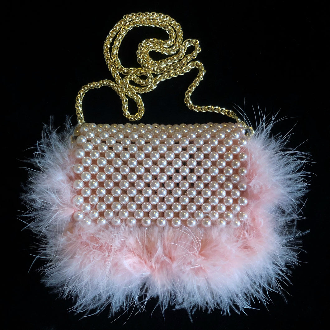 PINK PEARL BAG WITH MARIBOU