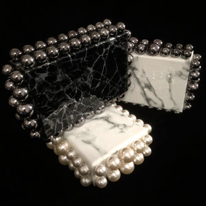 MARBLED CLUTCH WITH JUMBO PEARLS