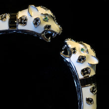 Load image into Gallery viewer, A WHITE ENAMELLED LEOPARD BRACELET WITH BLACK SPOTS