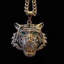 Load image into Gallery viewer, A LARGE GILT TIGER HEAD PENDANT
