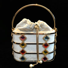 Load image into Gallery viewer, A VELVETINE BASKET BAG WITH JEWEL EMBELLISHED CAGE.
