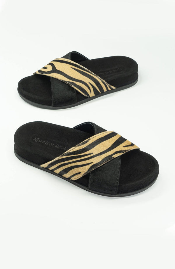 "Kuredu Zebra ""Beige/Black"" - Chaaya Shoes® Luxury Worldwide Brand"