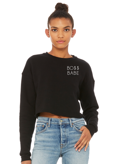 BO$ Babe Embroidered Cropped Crewneck - Direct Embroidery
