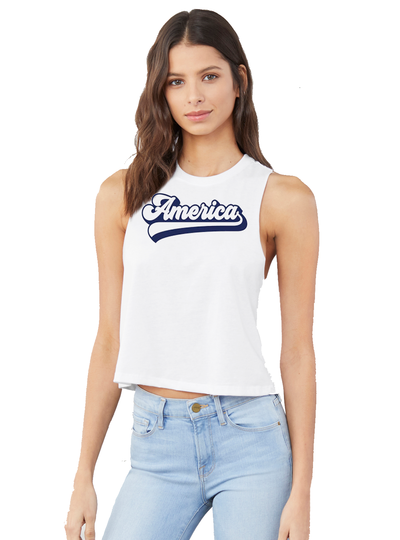 America Racerback Crop - Direct Embroidery