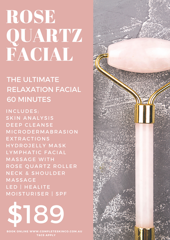 ROSE QUARTZ FACIAL - Ultimate Relaxation includes microdermabrasion $189