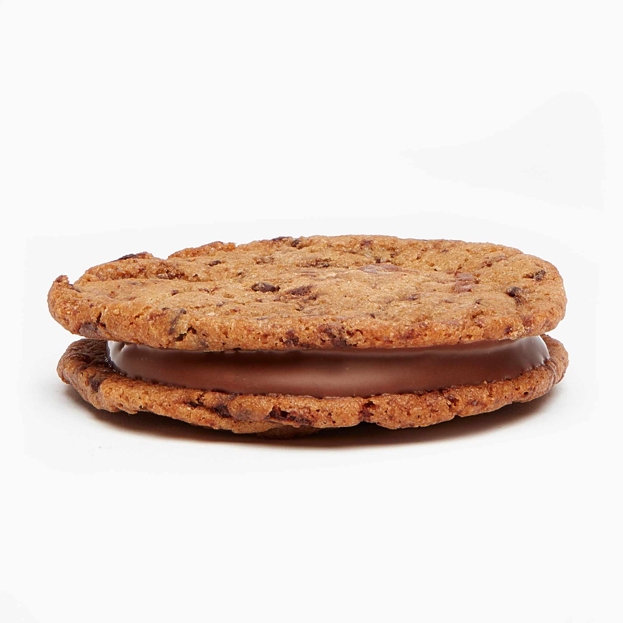 Sea salted caramel chocolate chip sandwich cookie