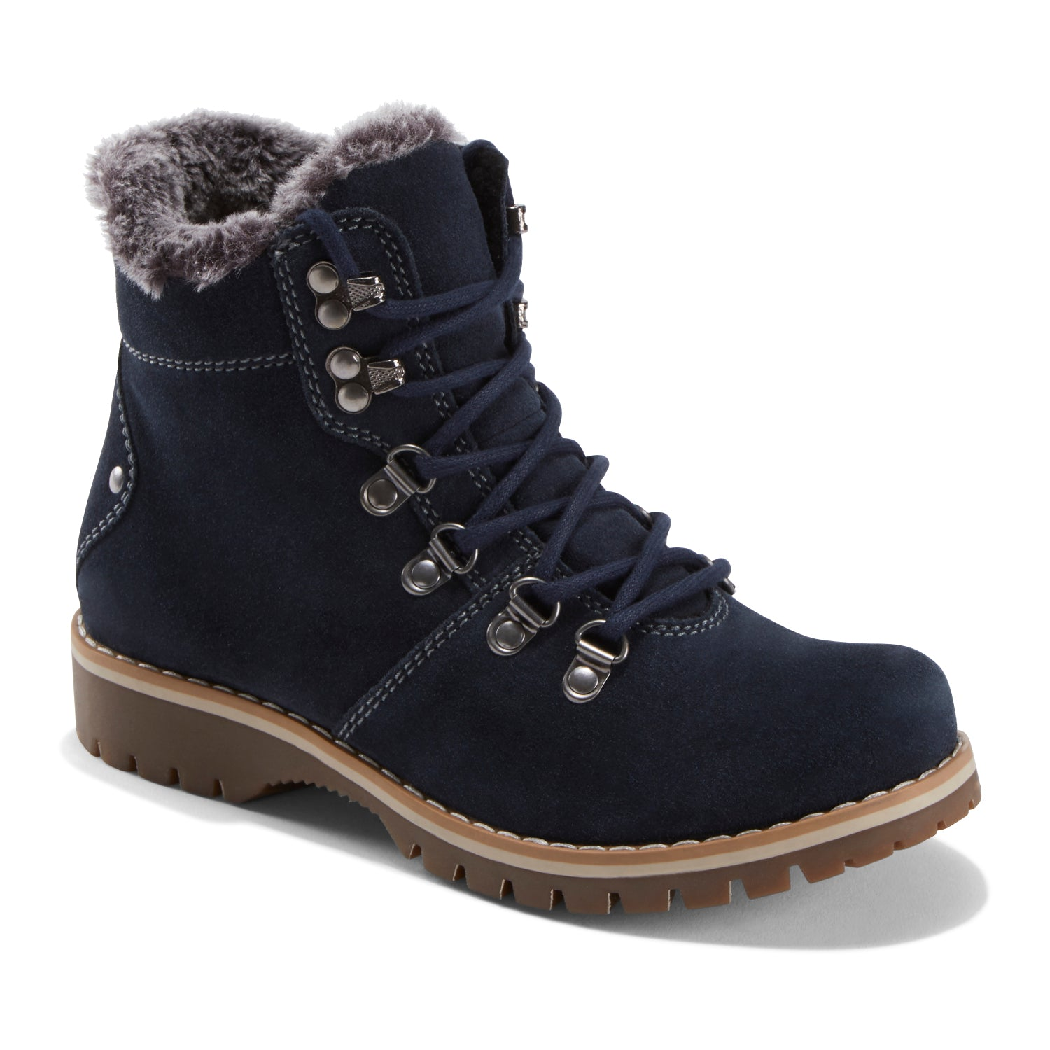 Imagine the possibilities this adorable, outdoorsy boot will bring to your wardrobe staples. Wear with denim, leggings and skirts with its contrast stitching, faux fur collar and fabulous hiking boot details.