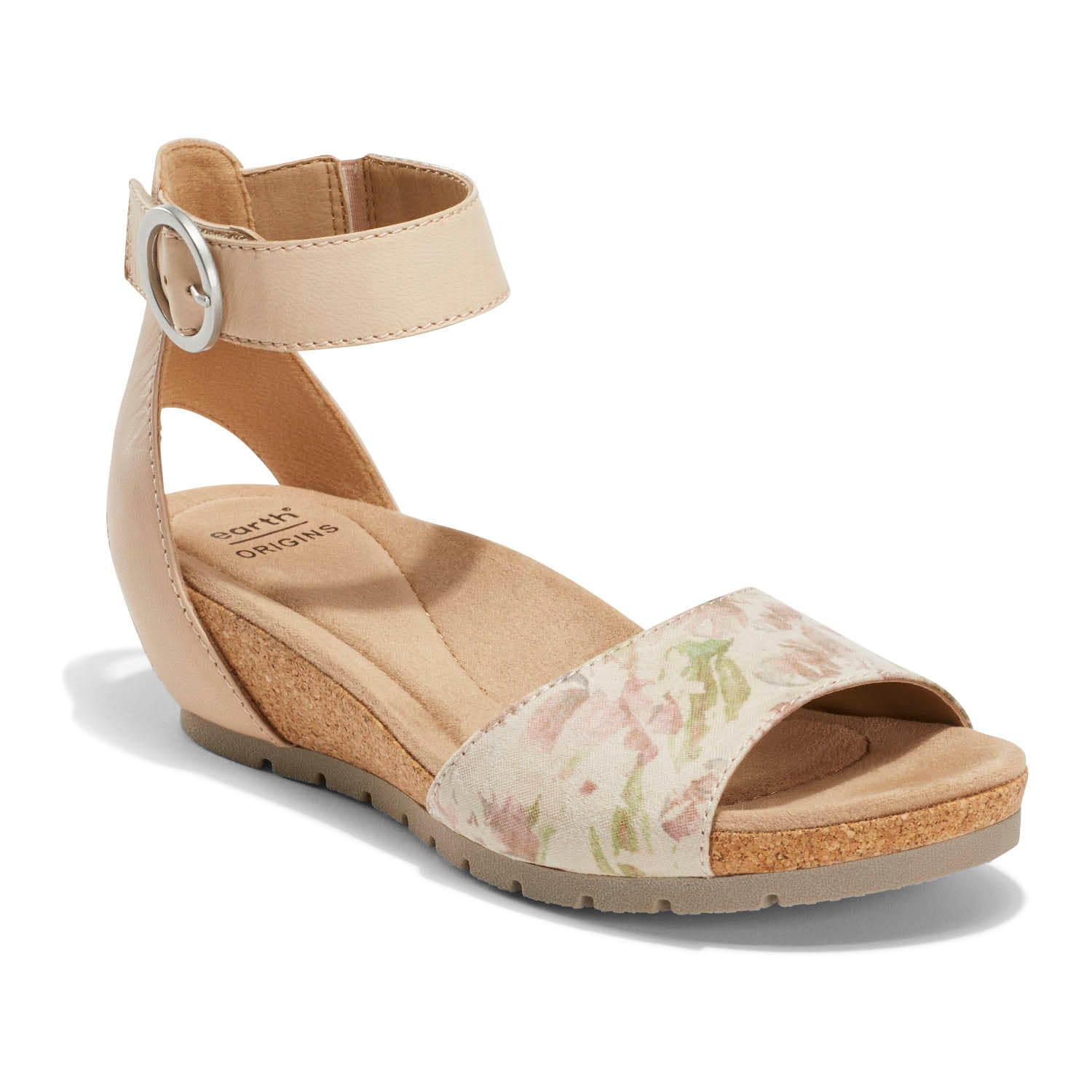 Strappy and elegant with its wrap-around ankle styling and cork wedge, it s the perfect sandal for dressier occasions when comfort is still a priority. Earth Origins Powerpath footbed design will add a spring to your step wherever the day (or night) takes you.