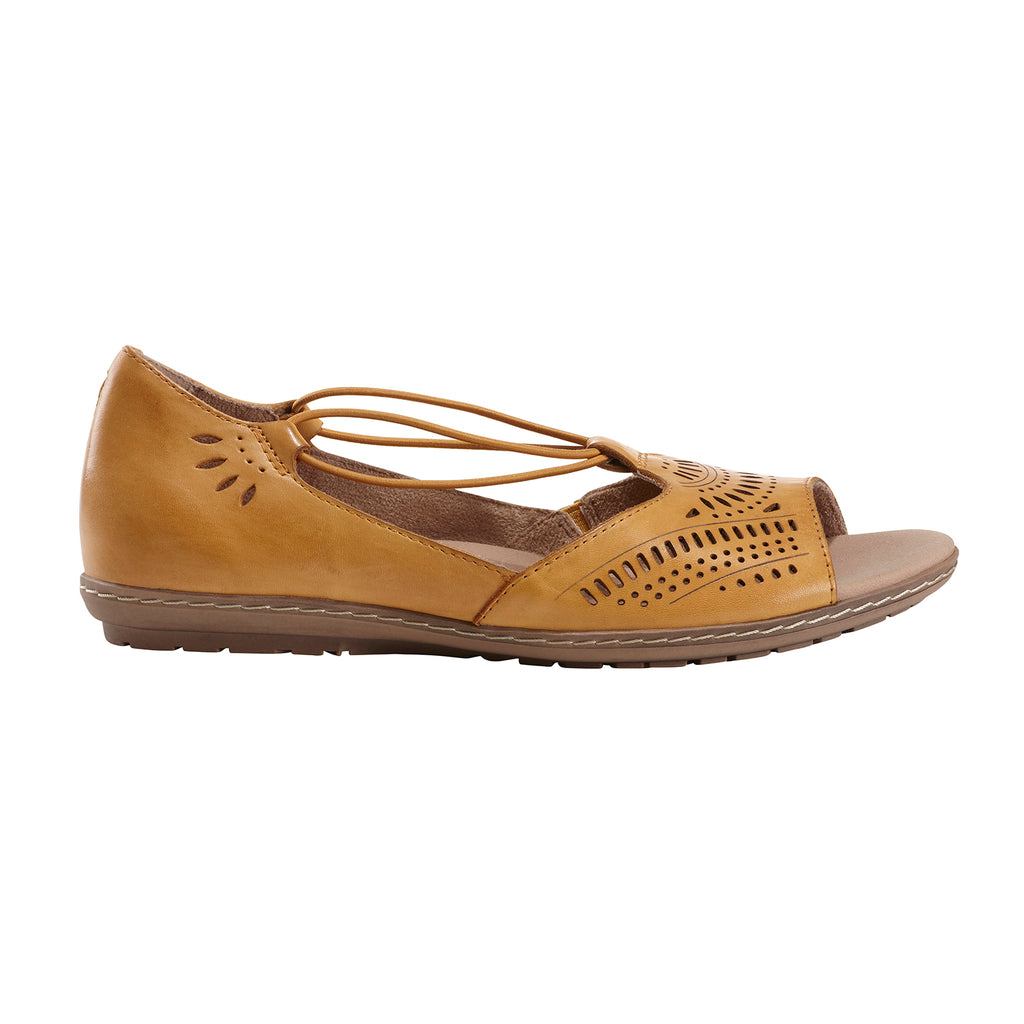 Earth Leather Perforated Slip-on Sandals Camellia Nauset Wash Gold 8M NEW A35037