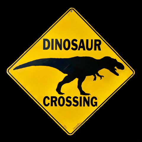 """Dinosaur Crossing"" Metal Sign"