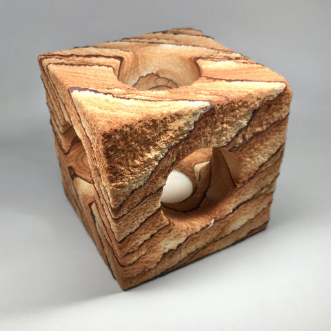 Sandstone Cube Candle Holder