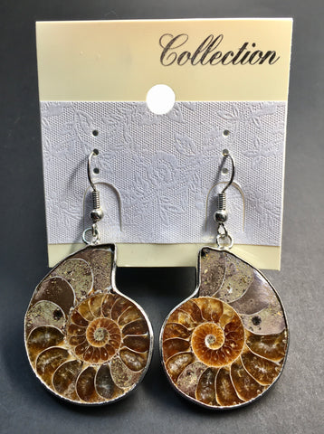 Silver-Plated Ammonite Earrings