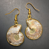 Gold-Plated Ammonite Earrings