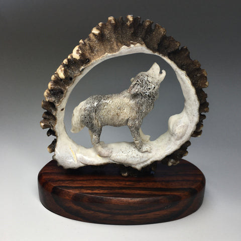 Wolf Carving from Moose Antler