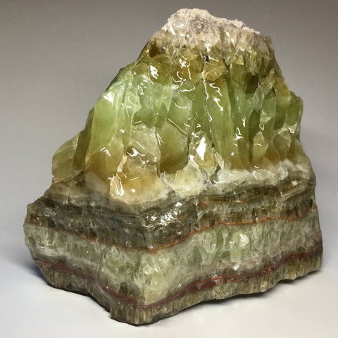 Large Raw Green Banded Calcite Crystal