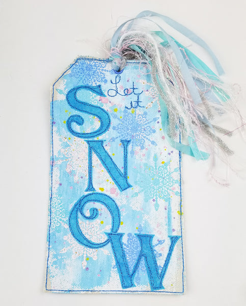 Finished! Let It Snow Themed Canvas Tag