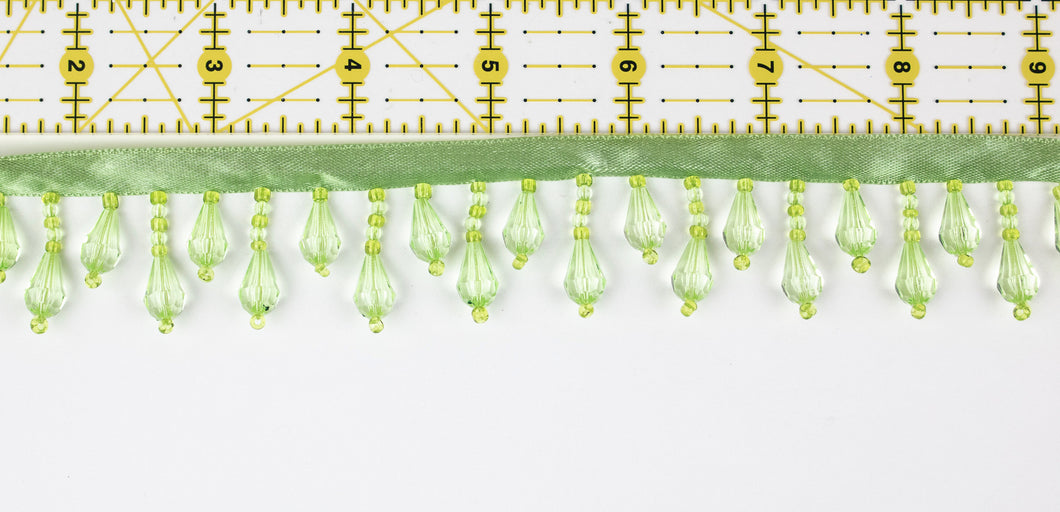 Beaded Fringe Trim - Bright Lime