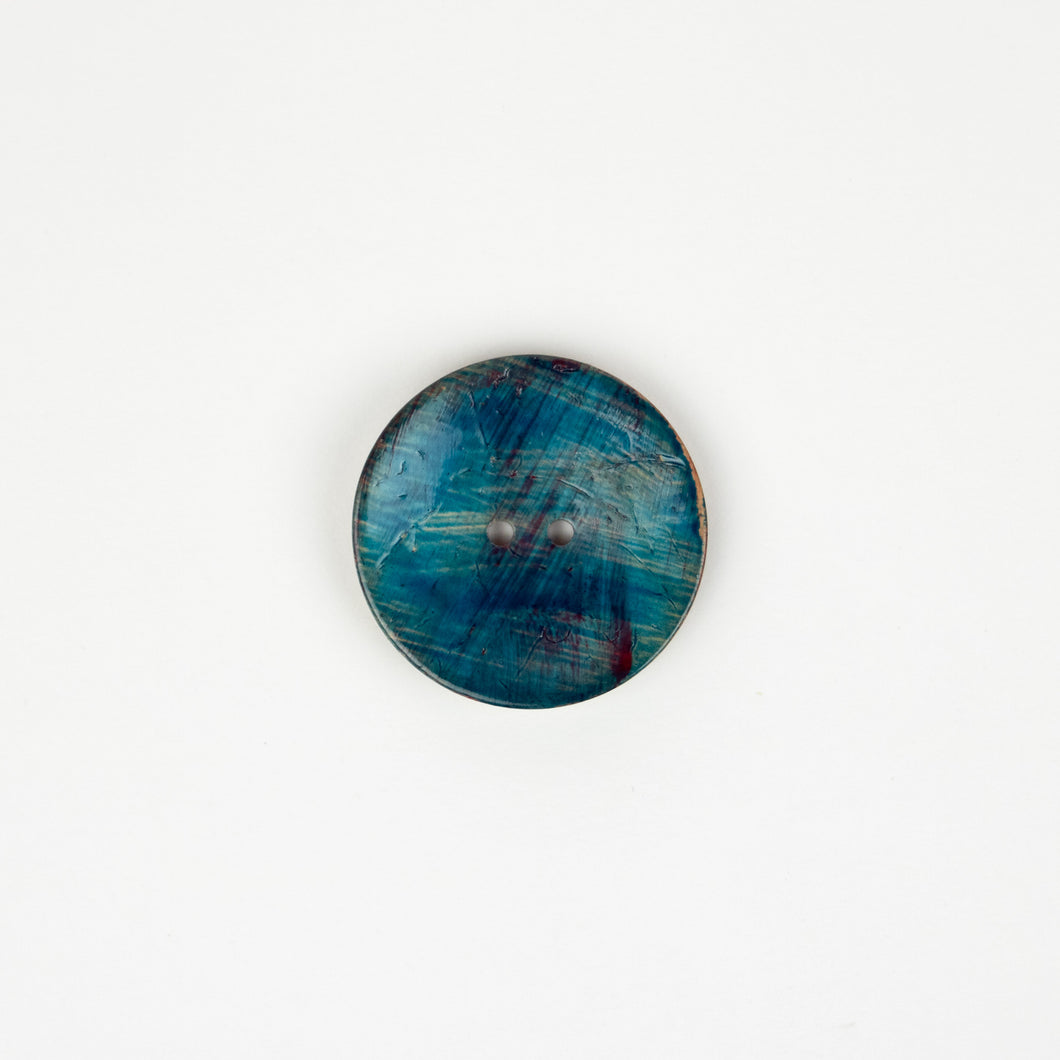 Button: Coconut 40mm Round Turquoise/Natural