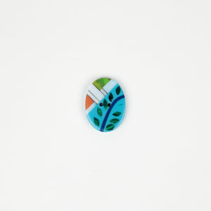 Button: Resin Modern Art Turquoise/green/orange Oval 30mm