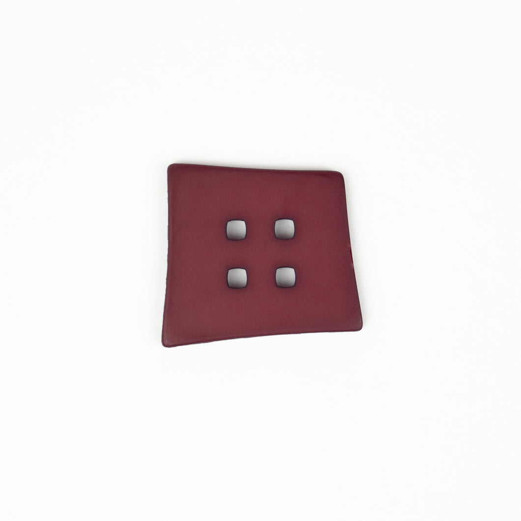 Button: Plastic 55 mm Square Drk Red