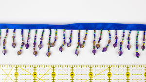 Beaded Fringe Trim - Multicolored & Purple