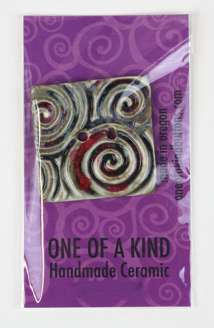 XL Square Button - One Of A Kind - Olive w/Maroon Swirls